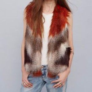 Free People faux fur multi color vest